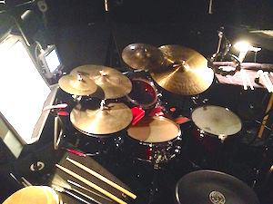Brian's pit orchestra drumset rig for North Shore Theatre
