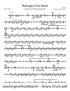 PDF Part for Washington Post March (Snare Drum transcription)